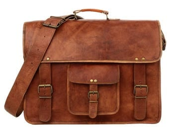 Large Briefcase Style Brown Leather Satchel Laptop Bag