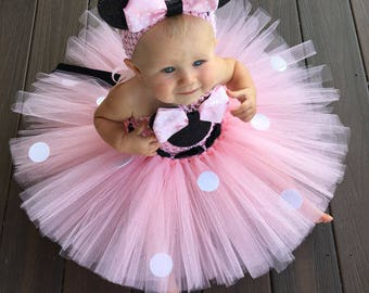 Lovely Girls Pink Mickey Tutu Dress Baby 2Layers Crochet Tulle Tutus with Dots Ribbon Bow and Headband Kids Birthday Party Dress