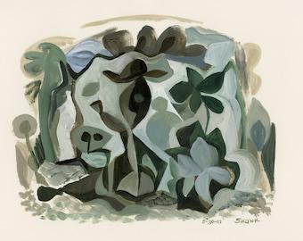 Jungle Scene, acrylic painting on paper