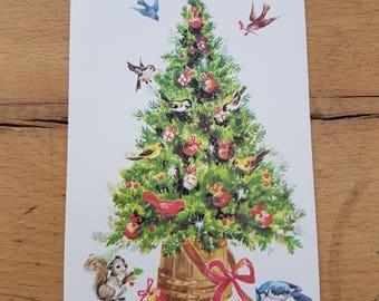 Small Vintage Christmas greetings card, brand new. 1970s, Christmas tree, bluebirds