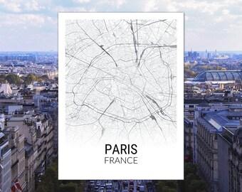 Paris France Map Print