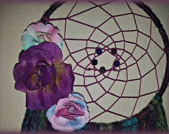 "8"" Gypsy Inspired Burgundy Floral Dreamcatcher / Wall Hanging / Macrame / Housewarming Gift / FREE SHIPPING"