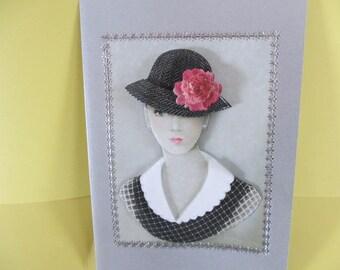 Card 3D (relief) Portrait of woman