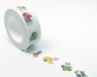 Gourmet washi Tape patterns multi fruit sliced multicolor 10Mx15mm white background