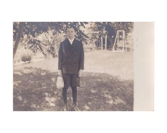 RPPC PEOPLE: Identified Boy, Ralph Flint, but where is he from? Vintage Real Photo Postcard, 1907-1920s