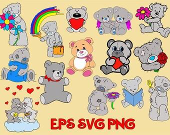 Teddy bear svg, Teddy bear clipart, bears clipart svg, Decoration postcards, Valentine svg, Bear with heart svg, clip art svg, svg files