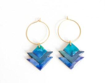 Tribal earrings, edgy earrings, triangle earrings, purple and black earrings, boho chic earrings, aztec earrings, graphic earrings, modern