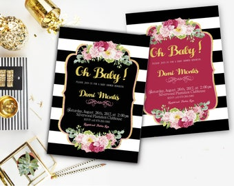 Kate spade Baby Shower Invitation, Black and White Striped Invitation, Black and Pink Invitations, Gold Glitter,