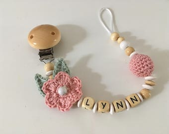 Pacifier with crochet bead and flower