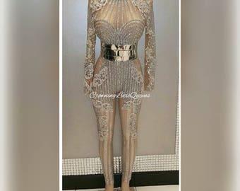 Luxurious Custom Kim Kardashian Inspired Crystal Rhinestone Bodysuit Playsuit Jumpsuit