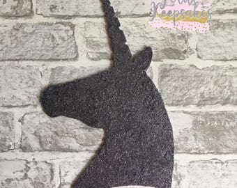 Unicorn Head wall Decor, Sparkly Silver Glitter