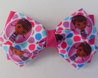 Doc McStuffins Handmade Hair Bow - Girl's hair bow, Bow, Character ribbon bow, Hair Clip, Hair Bow, Handmade hair accessory, Birhday gift
