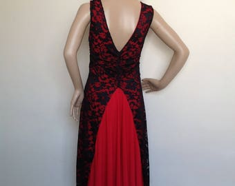 Argentine Tango dress in black stretch lace with contrasting red lining in small to medium size