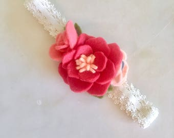 Coral, Pink, and Orange Felt Flower Headband