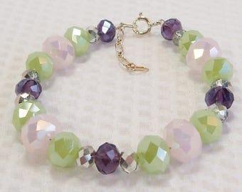 Chinese Crystal Bracelet, Pink Purple Green Crystal, Pink Opal Crystal, Tanzanite Crystal, Crystal Bracelet, Handmade, Sea Green Crystal