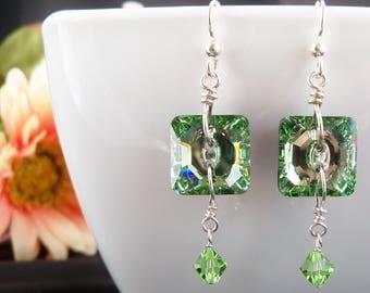 Peridot Swarovski Crystal Earrings, Swarovski Green Crystal Jewelry, Sterling Silver, Chrysolite , Peridot, Square Crystal Button, Handmade