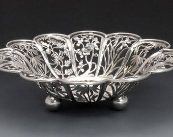 Antique Chinese Export Silver Openwork Bowl or Dish c1890