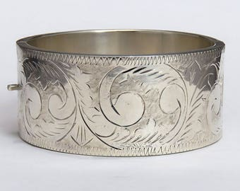 Beautiful Hand Engraved Sterling Silver Cuff Bracelet