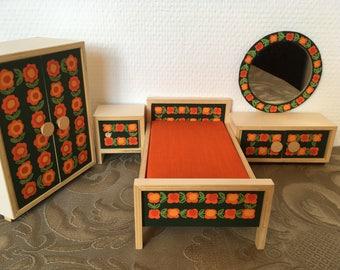 "Bodo Hennig original 70s bedroom dollshouse furniture ""Haus Susi"" original german vintage toys"