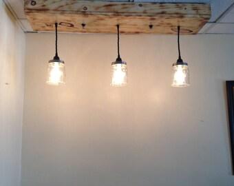 3 light diy mason jar chandelier