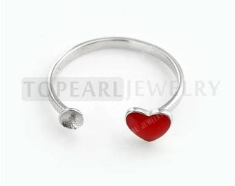9RM127 Jewelry 5pcs/LOT 925 Sterling Silver Red Heart Pearl Ring Base Settings for DIY Jewelry