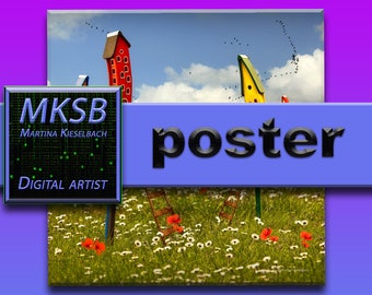 """Poster """"The village"""", posters, pictures, live art, special, nature, composing, fantasy, surreal, kids, children, gifts, presente"""