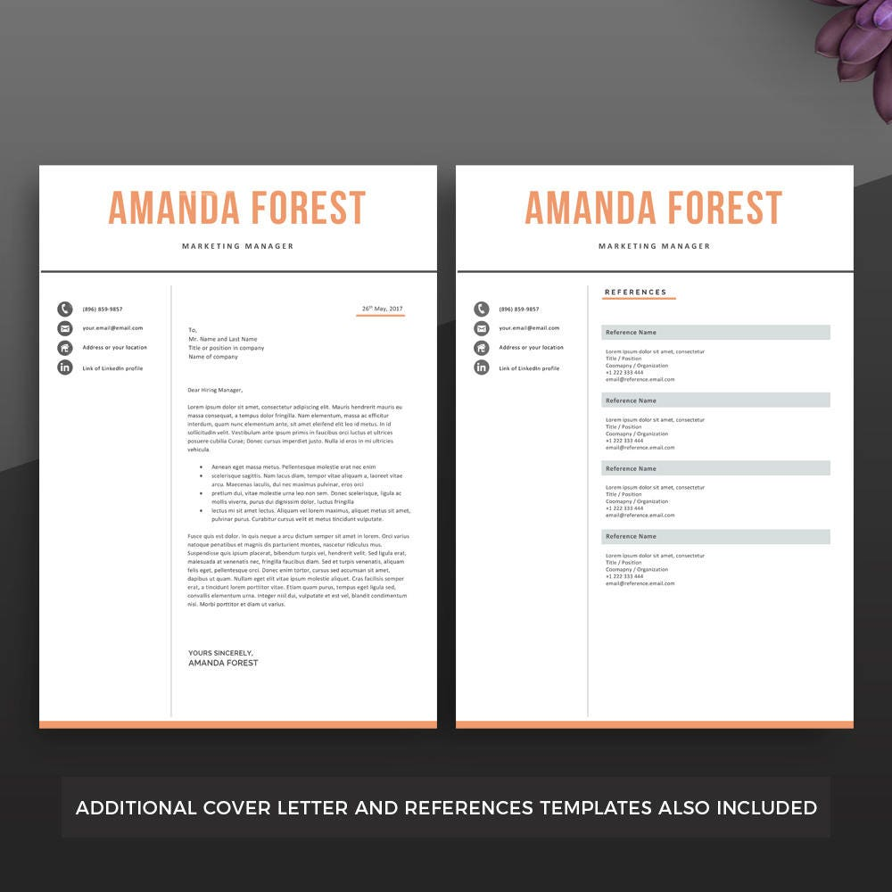professional resume template instant download clean resume il fullxfull professional resume template instant download clean resume