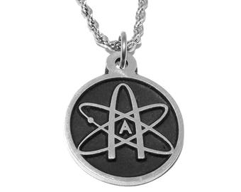 Black Pewter Atheist Atom Science Symbol Pendant Necklace with Chain