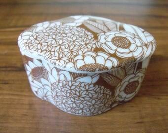 Vintage porcelain brown trinket box Royal Crown, England (#EV129)