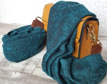 Sumptuous paisley ocean peacock teal colour replacement bag strap, soft, delicate patterned scarf, across the shoulder strap upcycled scarf