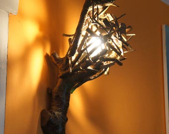 Lamp sconce forest style Buli Wood handicraft