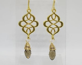 Handmade 18K Gold Plated Stainless Steel Filigree Earrings w/ Briolette Drop