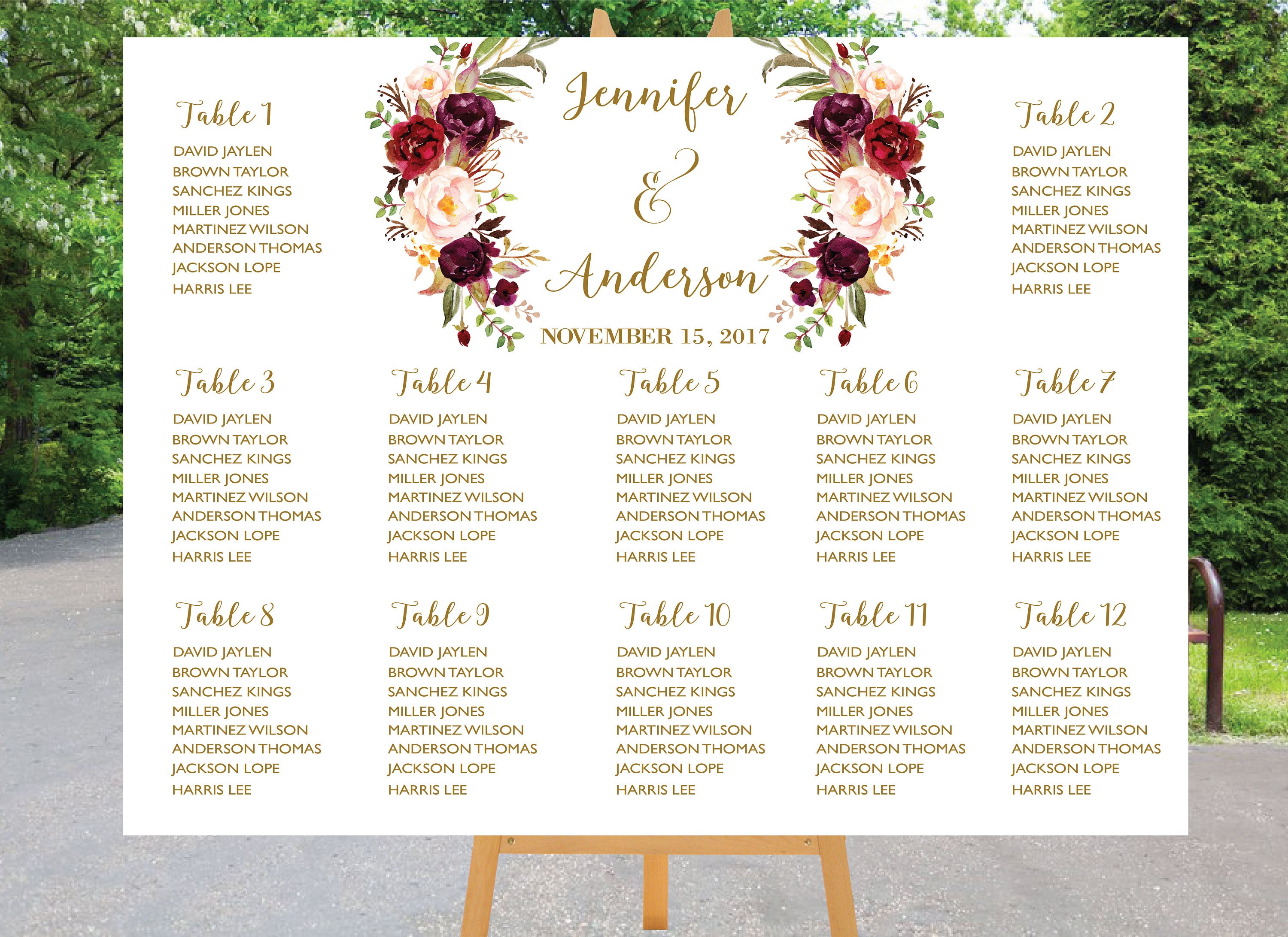 table assignment chart