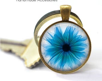 Blue Gerbera Key Ring • X-Ray of a Gerbera • Gerbera X-Ray • Flower • Radiologist • Radiology • Gift Under 20 • Made in Australia (K540)