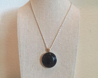 Epoxy Resin Circle Necklace, Midnight Blue Galaxy Style Resin Pendant