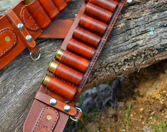 HANDMADE Leather CARTRIDGE Belts. Left-Right handed (With your initials on the back side)