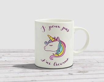 White mug, I can't I Unicorn