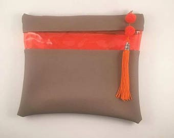 Brown and orange handbag