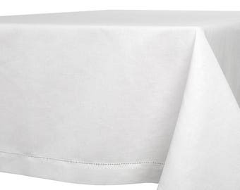 Delightful Classical Off White Linen TABLECLOTH   Made In Europe   Hemstitched Edging