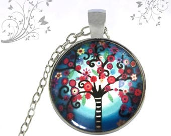 Tree of life necklace, nature necklace, red blue necklace, Medallion handmade