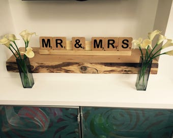 Mr & Mrs scrabble letter sign.