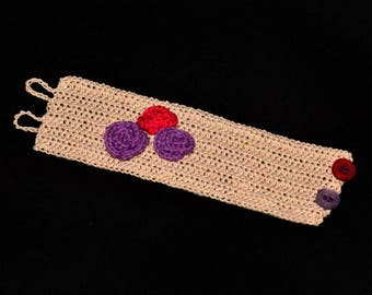Crochet Cuff Bracelet/ Purple and Pink Flowers