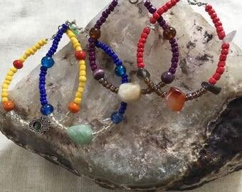 Beaded Bracelets with Precious Stones