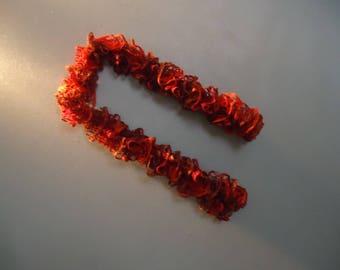 Handmade red ruffle scarf