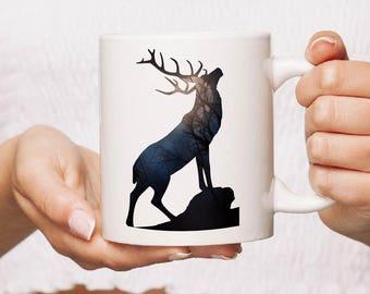 Black stag Ceramic Mug Gift Coffee Mug Personalised Tea Cup