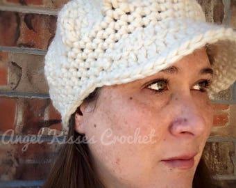 Crochet newsboy hat, newsboy cap, slouchy newsboy, bulky hat, warm, winter hat