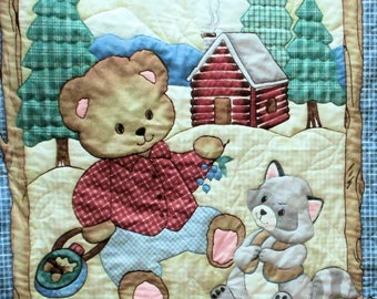 BABY or CHILD'S QUILT Handmade Bear & Raccoon