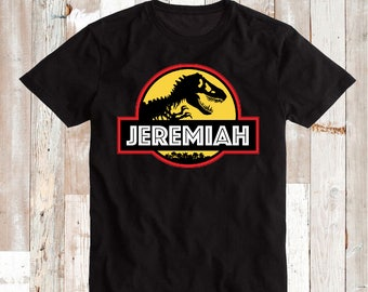 Custom Jurassic Park Tee Tees T-Shirt Jurassic Park Dinosaur Shirt Kids T-shirt With Name, Personalized Name Dinosaur Custom Names, aa01
