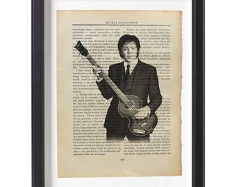 Paul McCartney art print The Beatles illustration beautifully upcycled old book (1915) page art print