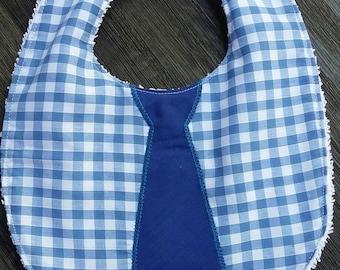 Bespoke boys bib with tie detail
